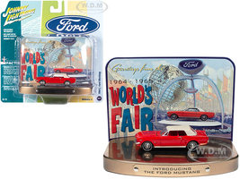 1964 1/2 Ford Mustang Rangoon Red Red Interior Collectible Tin Display Introducing The Ford Mustang Greetings from World's Fair 1964 1965 1/64 Diecast Model Car Johnny Lightning JLDR012 JLSP081