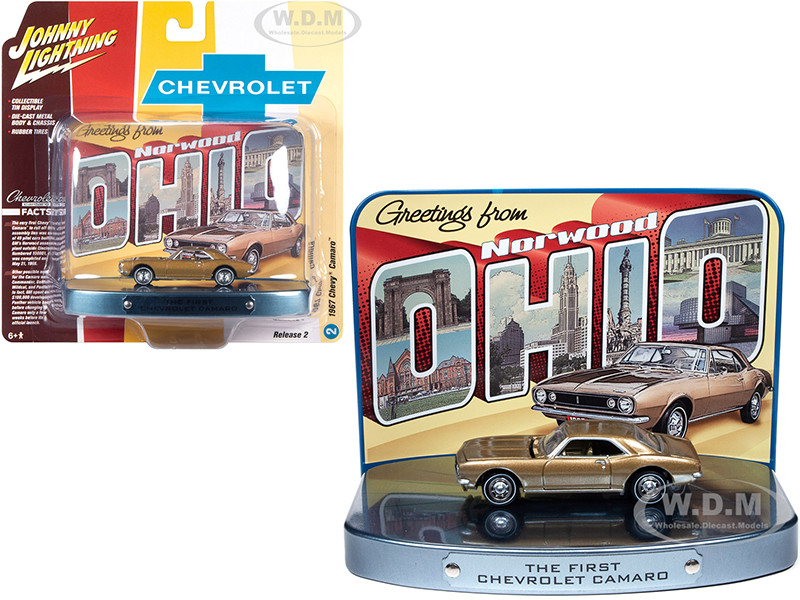 1967 Chevrolet Camaro Gold Gold Interior Collectible Tin Display The First Chevrolet Camaro Greetings from Norwood Birth Place of the Camaro 1/64 Diecast Model Car Johnny Lightning JLDR012 JLSP082