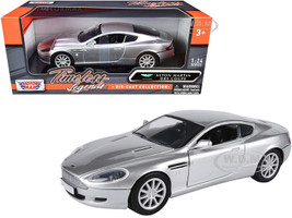 Aston Martin DB9 Coupe Silver Metallic Timeless Legends 1/24 Diecast Model Car Motormax 73321