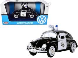 1966 Volkswagen Beetle Police Car Black White 1/24 Diecast Model Car Motormax 79578