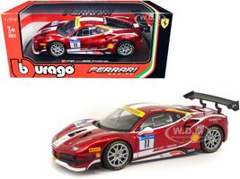 Ferrari 488 Challenge #11 Candy Red White Stripes Ferrari Racing 1/24 Diecast Model Car Bburago 26308