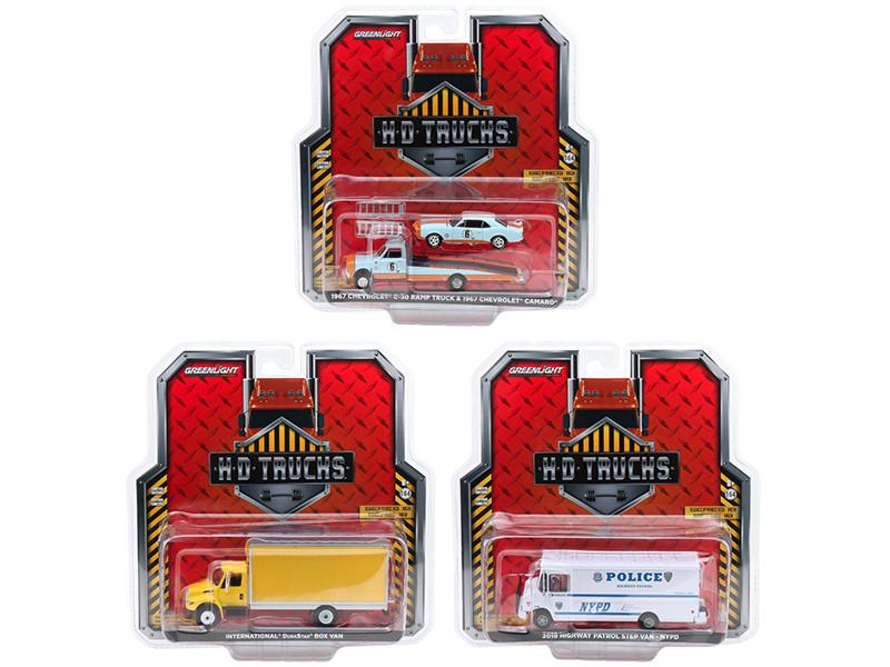 Heavy Duty H.D. Trucks Set 3 pieces Series 18 1/64 Diecast Models Greenlight 33180