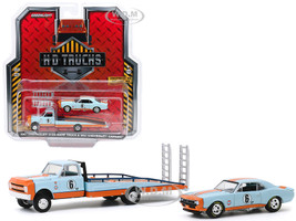 1967 Chevrolet C-30 Ramp Truck 1967 Chevrolet Camaro #6 Gulf Oil Light Blue Orange H.D. Trucks Series 18 1/64 Diecast Model Cars Greenlight 33180 A