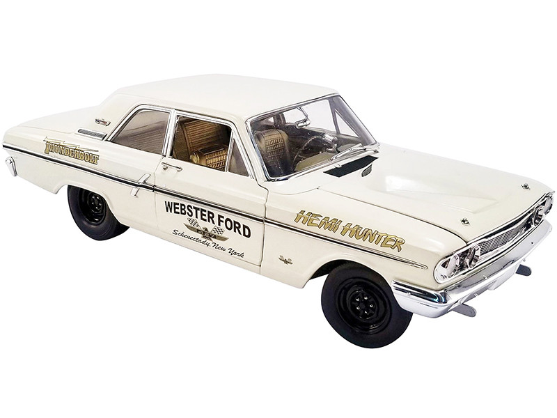 1964 Ford Thunderbolt Hemi Hunter Webster Ford Wimbledon White Gold Interior 1/18 Diecast Model Car Autoworld ACME CP7649 A1801108