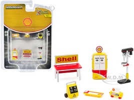 Shell Oil 6 piece Shop Tools Set Shop Tool Accessories Series 3 1/64 Greenlight 16060 C