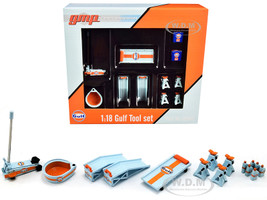 Gulf Oil Shop Tools Set of 6 pieces 1/18 Diecast Replica GMP 18942
