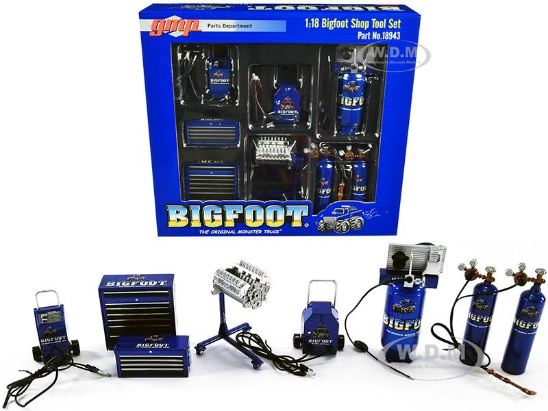 Garage Shop Tool Set of 7 pieces Bigfoot #1 The Original Monster Truck 1/18 Diecast Replica GMP 18943