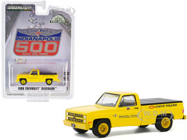 1986 Chevrolet Silverado Official Pickup Truck Bed Cover Yellow 70th Annual Indianapolis 500 Mile Race Hobby Exclusive 1/64 Diecast Model Car Greenlight 30165