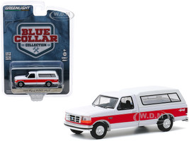 1994 Ford F-150 XLT 4x4 Pickup Truck Camper Shell White Red Stripe Blue Collar Collection Series 7 1/64 Diecast Model Car Greenlight 35160 E