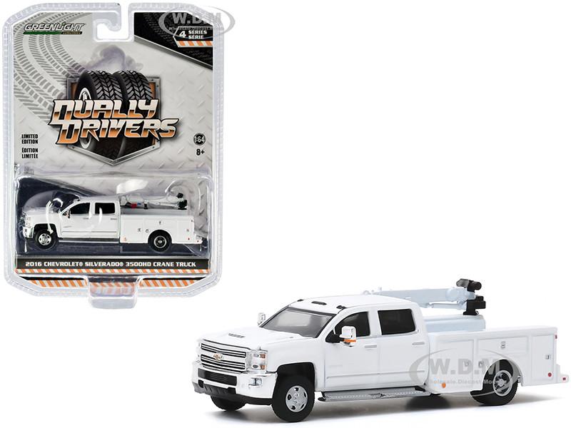2016 Chevrolet Silverado 3500HD Dually Crane Truck White Dually Drivers Series 4 1/64 Diecast Model Car Greenlight 46040 A