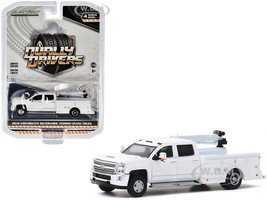 2016 Chevrolet Silverado 3500HD Dually Crane Truck White Dually Drivers Series 4 1/64 Diecast Model Car Greenlight 46040 A