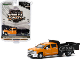 2017 Chevrolet Silverado 3500HD Dually Dump Truck Orange Black Dually Drivers Series 4 1/64 Diecast Model Car Greenlight 46040 B