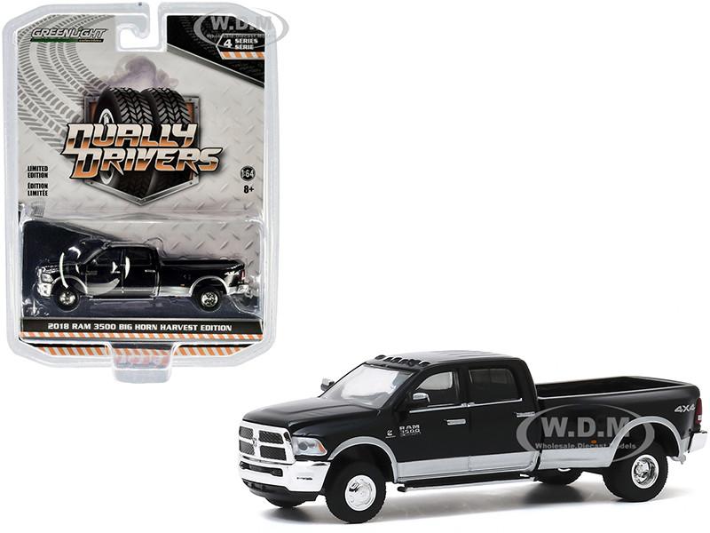 2018 RAM 3500 Big Horn Dually Pickup Truck Harvest Edition Black Bright Silver Dually Drivers Series 4 1/64 Diecast Model Car Greenlight 46040 E
