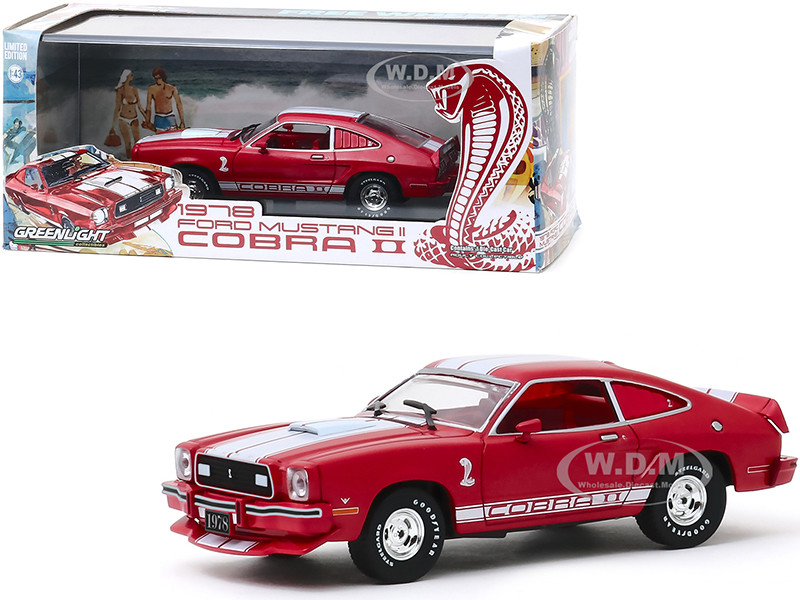 1978 Ford Mustang II Cobra II Red White Stripes Red Interior 1/43 Diecast Model Car Greenlight 86337