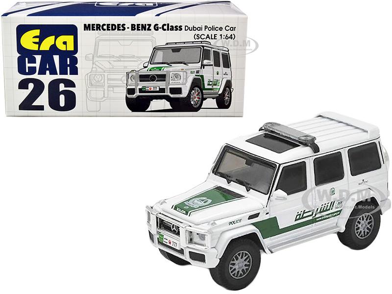 Mercedes Benz G-Class Dubai Police Car White Green 1/64 Diecast Model Car Era Car MB204X4RN26
