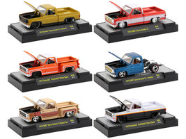 Auto Trucks Set of 6 pieces Square Body Trucks Release 58 Display Cases 1/64 Diecast Model Cars M2 Machines 32500-58