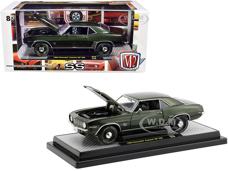 1969 Chevrolet Camaro SS 396 Fathom Green Metallic Black Stripes Limited Edition 5880 pieces Worldwide 1/24 Diecast Model Car M2 Machines 40300-75 B