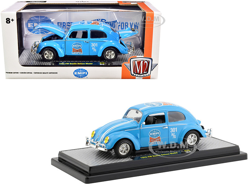 1952 Volkswagen Beetle Deluxe Model EMPI Light Blue White Stripes Limited Edition 6880 pieces Worldwide 1/24 Diecast Model Car M2 Machines 40300-78 A