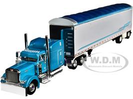 "Peterbilt 379 63"" Mid-Roof Sleeper Cab 53' Walking Floor Trailer Pyskaty Bros. Trucking #34 Light Blue Metallic Chrome Ice Road Truckers 2007 TV Series 2nd in a Big Rigs Series 1/64 Diecast Model DCP First Gear 69-0800"