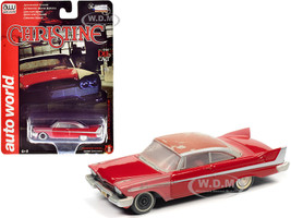 1958 Plymouth Fury Red Partially Restored Christine 1983 Movie 1/64 Diecast Model Car Autoworld AWSP039