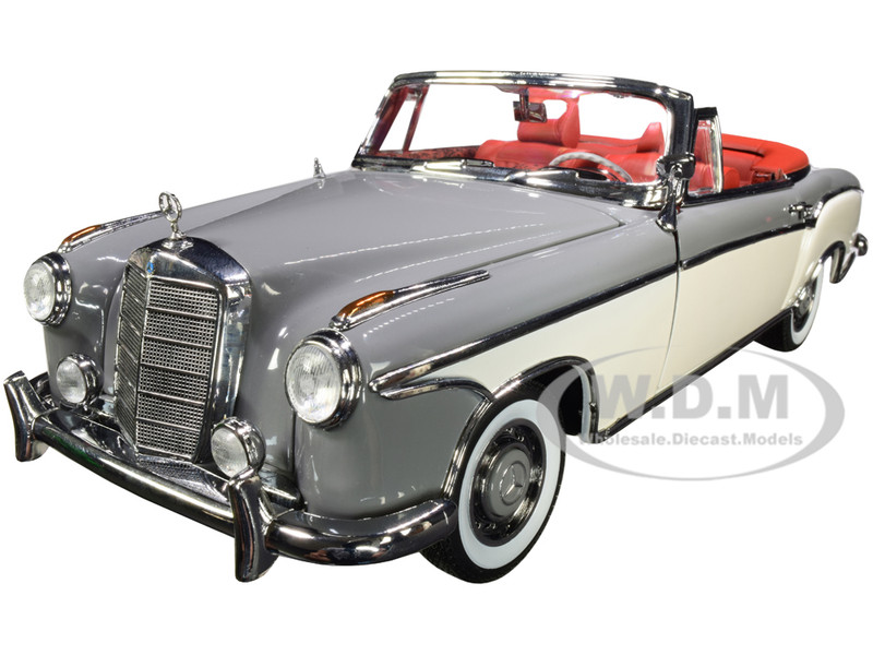 1958 Mercedes Benz 220 SE Convertible Gray White Red Interior 1/18 Diecast Model Car SunStar 3575