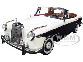 1958 Mercedes Benz 220 SE Convertible Ivory White Black 1/18 Diecast Model Car SunStar 3576