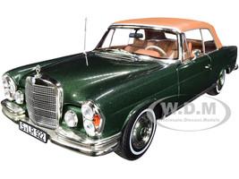 1969 Mercedes Benz 280SE Convertible Green Metallic Brown Top 1/18 Diecast Model Car Norev 183434