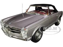 1963 Mercedes Benz 230SL Convertible Anthracite Gray Metallic Red Interior 1/18 Diecast Model Car Norev 183498