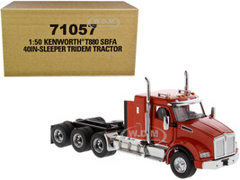 "Kenworth T880 SBFA 40"" Sleeper Cab Tridem Truck Tractor Orange 1/50 Diecast Model Diecast Masters 71057"