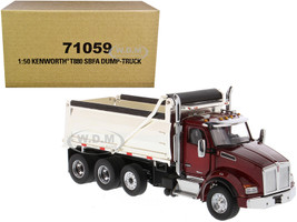 Kenworth T880 SBFA Dump Truck Radiant Red Chrome 1/50 Diecast Model Diecast Masters 71059