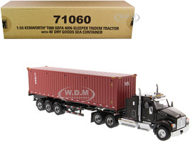 "Kenworth T880 SBFA 40"" Sleeper Cab Tridem Truck Tractor Black Metallic Flatbed Trailer 40' Dry Goods Sea Container TEX Transport Series 1/50 Diecast Model Diecast Masters 71060"