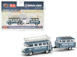 1958 Volkswagen Microbus 15 Window USA Model Travel Trailer PAN AM Limited Edition 3000 pieces Worldwide 1/64 Diecast Model Car M2 Machines 38100-MJS04