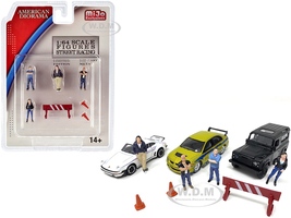 Street Racing Diecast Set of 7 pieces 4 Figurines 3 Accessories 1/64 Scale Models American Diorama 38406