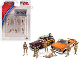Calendar Girls 6 piece Diecast Figurine Set Release 1 1/64 Scale Models American Diorama 38407