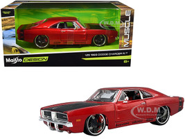 1969 Dodge Charger R/T Red Metallic Black Hood Black Stripes Classic Muscle 1/25 Diecast Model Car Maisto 32537
