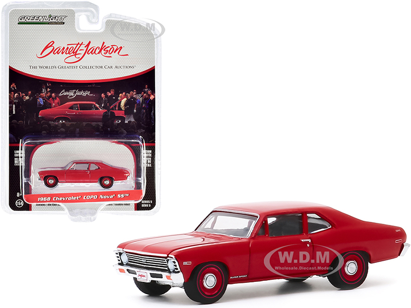 1968 Chevrolet COPO Nova SS Red Red Wheels Lot #1268 Barrett Jackson Scottsdale Edition Series 5 1/64 Diecast Model Car Greenlight 37200 C