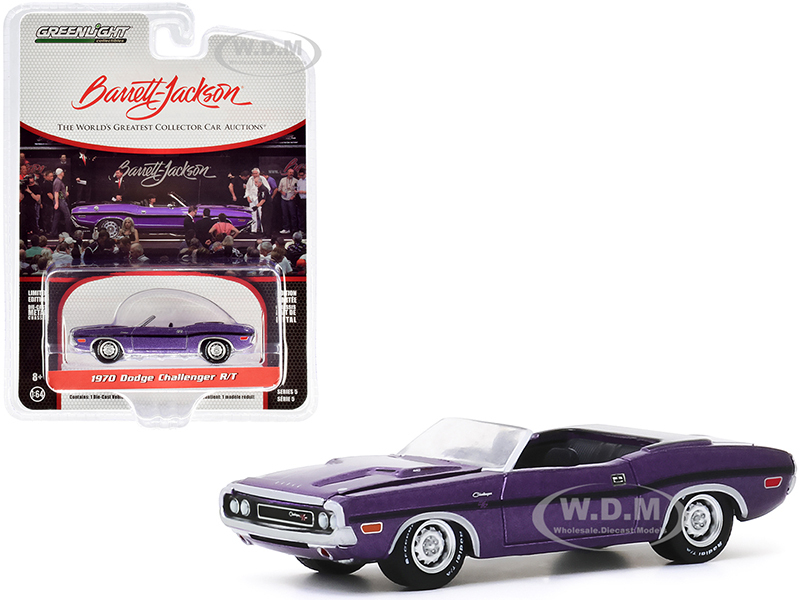 1970 Dodge Challenger R/T Convertible Plum Crazy Purple Metallic Black Stripes Lot #1015 Barrett Jackson Scottsdale Edition Series 5 1/64 Diecast Model Car Greenlight 37200 E