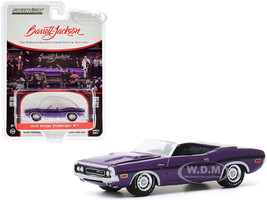 1970 Dodge Challenger R/T Convertible Plum Crazy Purple Metallic Black Stripes Lot #1015 Barrett Jackson Scottsdale Edition Series 5 1/64 Diecast Model Car Greenlight 37200 E