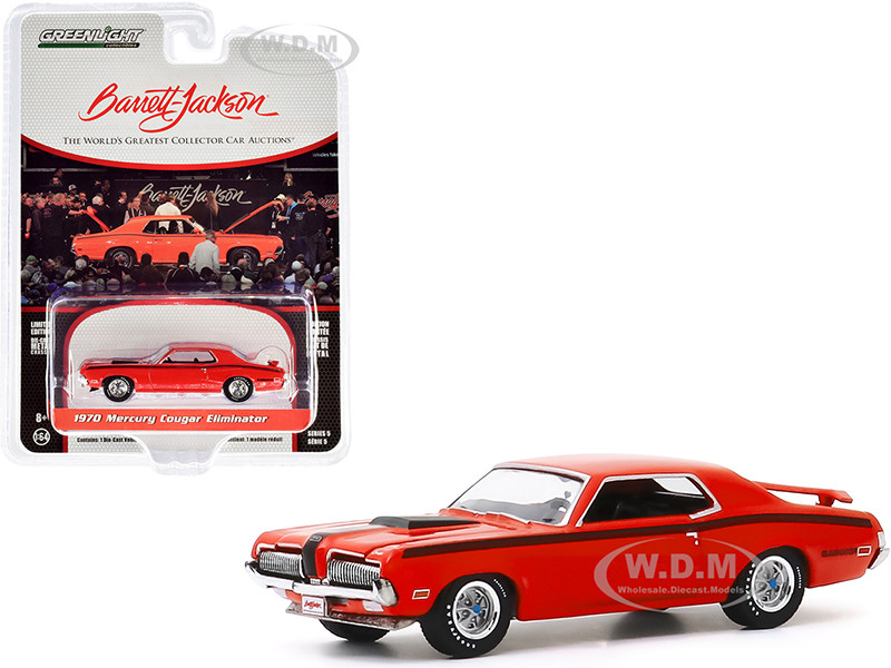 1970 Mercury Cougar Eliminator Orange Black Stripes Lot #1082 Barrett Jackson Scottsdale Edition Series 5 1/64 Diecast Model Car Greenlight 37200 F
