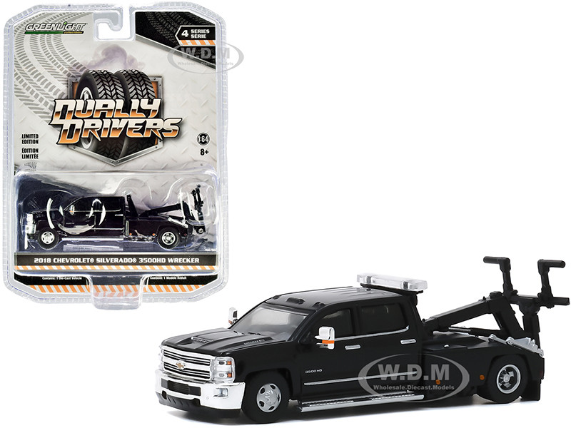 2018 Chevrolet Silverado 3500HD Dually Wrecker Tow Truck Black Dually Drivers Series 4 1/64 Diecast Model Car Greenlight 46040 D