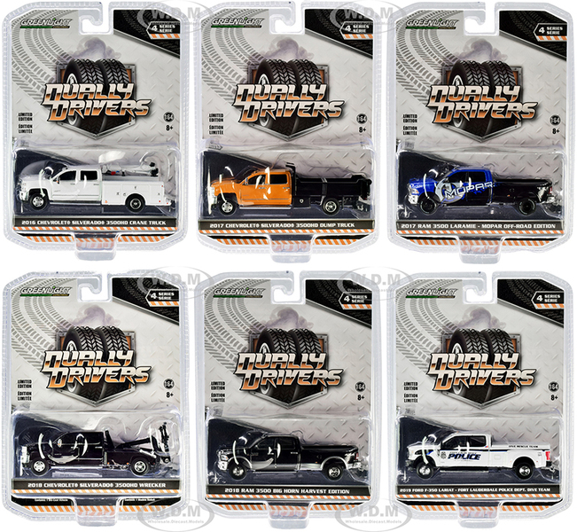 Dually Drivers Set of 6 Trucks Series 4 1/64 Diecast Model Cars Greenlight 46040