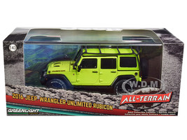 2016 Jeep Wrangler Unlimited Rubicon Off-Road Roof Rack Hyper Green All-Terrain Series 1/43 Diecast Model Car Greenlight 86179