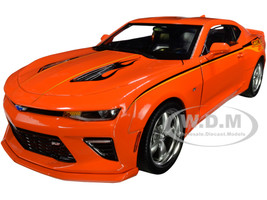 2016 Chevrolet Nickey Super Camaro Hugger Orange Stripes Flames Muscle Car & Corvette Nationals MCACN 1/18 Diecast Model Car Autoworld AW256
