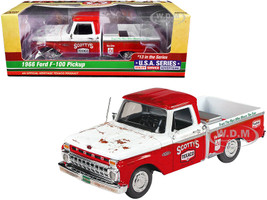 1966 Ford F-100 Pickup Truck Texaco Red White Unrestored 13th in the USA Series 1/25 Diecast Model Car Autoworld CP7637