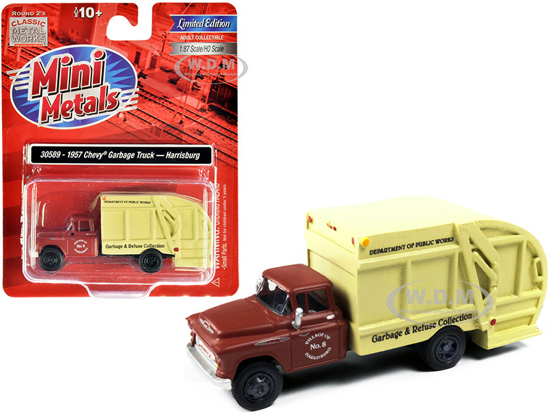 1957 Chevrolet Garbage Truck Harrisburg Department of Public Works Maroon Yellow 1/87 HO Scale Model Classic Metal Works 30589