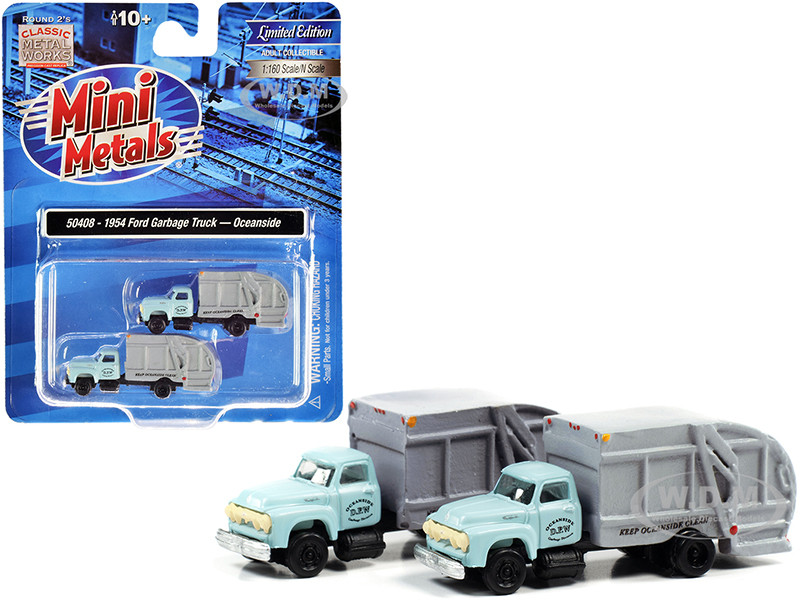 1957 Chevrolet Garbage Truck Oceanside Department of Public Works Light Blue Gray Set of 2 pieces 1/160 N Scale Models Classic Metal Works 50408