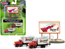 1954 Ford Box Truck 2 pieces Red White Country Billboard Acme Beer 1/160 N Scale Models Classic Metal Works 60003