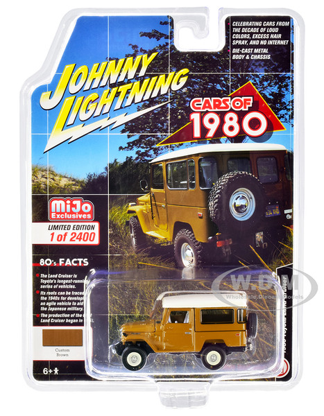 1980 Toyota Land Cruiser Custom Brown White Top White Interior Limited Edition 2400 pieces Worldwide 1/64 Diecast Model Car Johnny Lightning JLCP7330