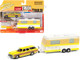 1973 Chevrolet Caprice Wagon Custom Golden Yellow Wood Paneling Camper Trailer Limited Edition 2500 pieces Worldwide Truck and Trailer Series 1 1/64 Diecast Model Car Johnny Lightning JLBT013 A