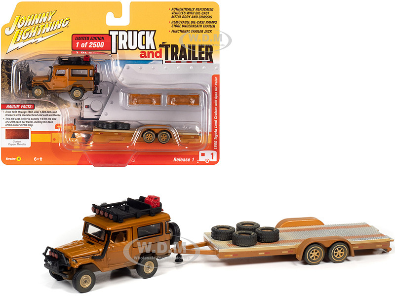 1980 Toyota Land Cruiser Open Car Trailer Custom Copper Metallic Dirty Version Limited Edition 2500 pieces Worldwide Truck and Trailer Series 1 1/64 Diecast Model Car Johnny Lightning JLBT013 A